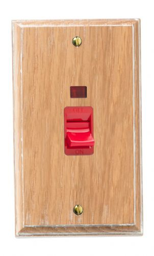 Varilight XK45NLOW Kilnwood Limed Oak 45A DP Cooker Switch Vertical Twin Plate + Neon
